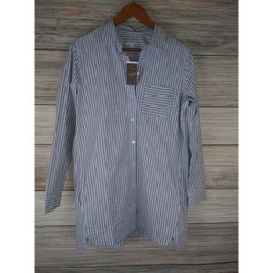 NWT J. JILL Blue Sky Striped Oversized Shirt M